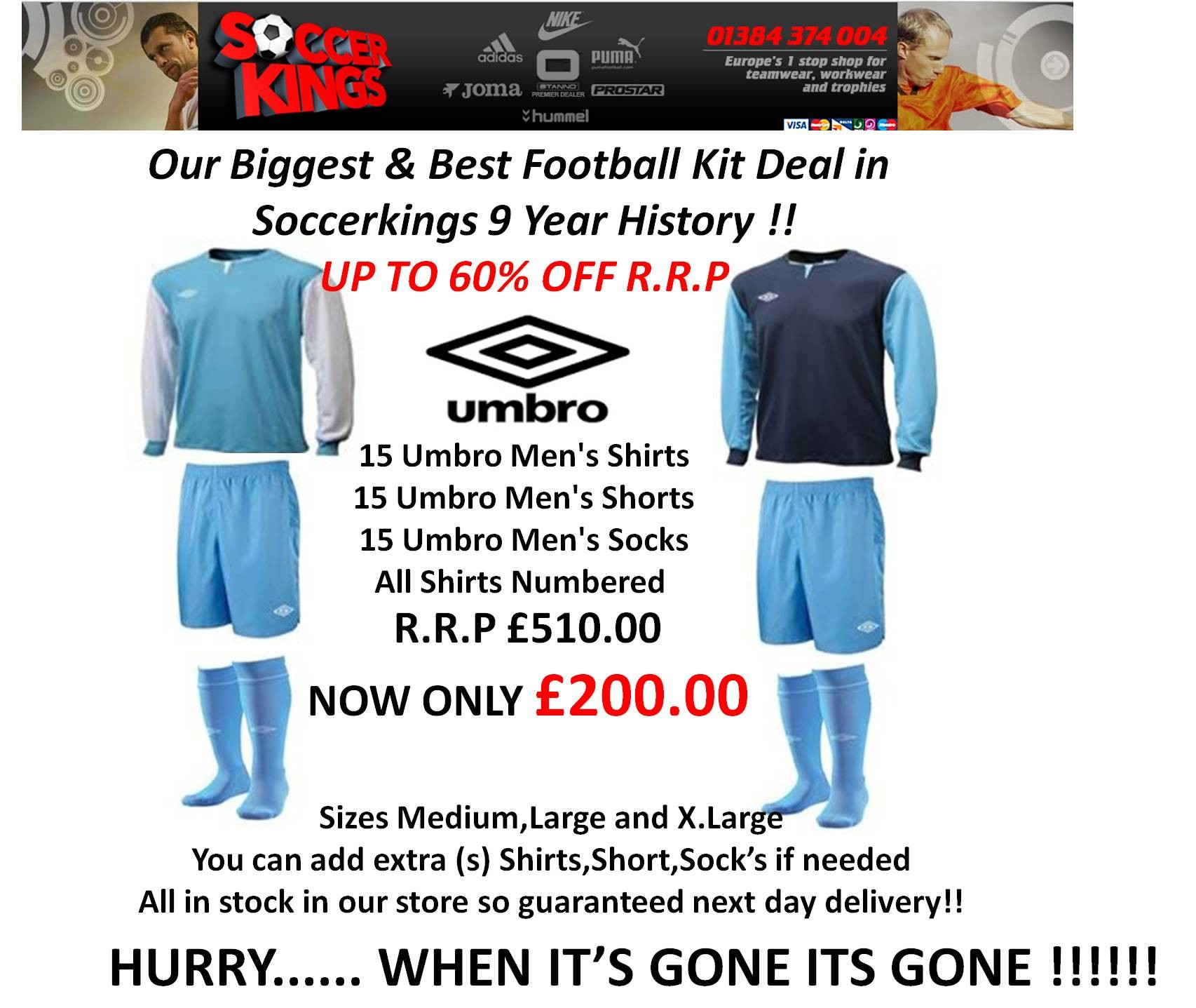 Umbro Kit deal R.R.P £510.00 NOW ONLY £200.00